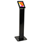 Black locking floor stand iPad kiosk with durable aluminum construction
