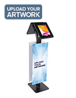 Convertible printed double tablet kiosk with custom messaging