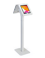 Floor to counter dual sided tablet kiosk with rotating displays