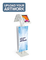 Adjustable branded dual tablet floor stand with set of two custom graphics