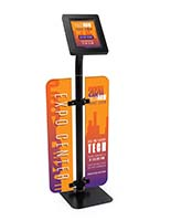 Branded iPad survey stand with personalized graphics