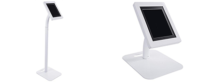 White tablet stand that adjusts for floor or counter use