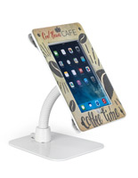 White acrylic custom secure flexible iPad stand