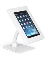 White steel anti-theft multi-mount iPad tablet stand