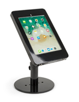 Countertop locking iPad Pro tablet stand in shiny black finish