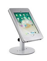 Countertop iPad Pro tablet holder in powder-coated silver
