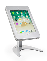 Countertop iPad Pro tablet holder stand in powder-coated silver