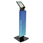 Pillar base iPad Pro kiosk with printed poster for high quality branded messaging
