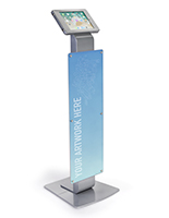 Silver finish pillar base iPad Pro kiosk with custom graphic
