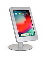 Glossy silver iPad Pro desk mount with anti-theft enclosure for tablet security