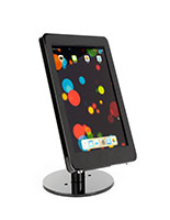 Glossy black iPad Pro POS stand with modern rounded corner design