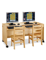 Dual Kids Computer Desk with Height Adjustable Tray