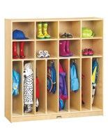 Childrens Wooden Clothing Lockers with Overhead Cubbies