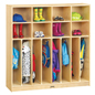 8-Section, Childrens Wooden Clothing Lockers