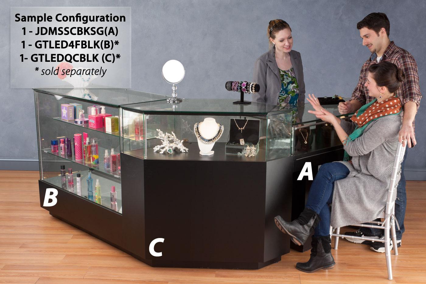 Semi-Gloss Black Jewelry Display Case with Hydraulic Lift Opening
