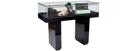 Jewelry display case with hydralic lift opening