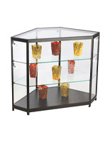 These jewelry display cases are quality store fixtures made with tempered glass.