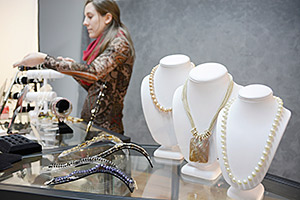 jewelry display fixtures on a retail showcase