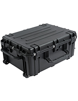 Waterproof cubed foam equipment case with black exterior