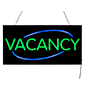 "LED ""Vacancy"" Sign with Neon Green and Blue Lighting"