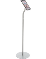 Silver Floor iPad Stand with Universal Tablet Enclosure