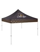 Small event tent with customized full color dye sub graphics