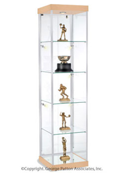 this maple trophy case for sale is crafted from tempered glass to provide a strong display that. Black Bedroom Furniture Sets. Home Design Ideas