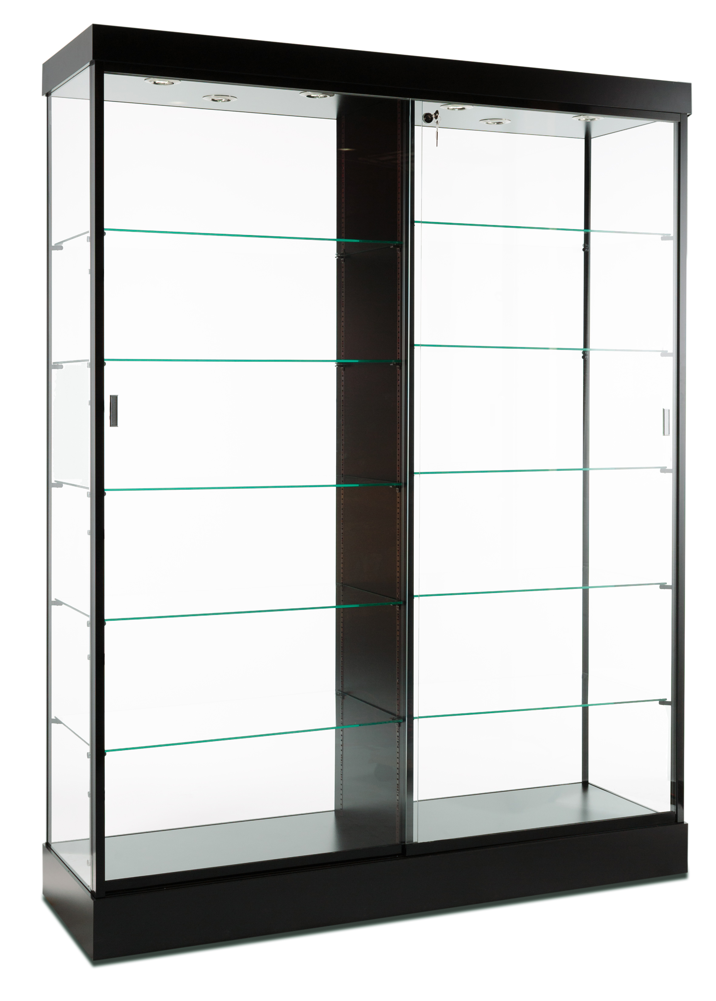 Display Cabinets Black Finish Amp Top Lighting Glass Doors