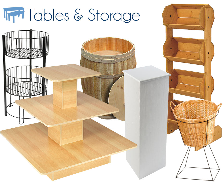 retail bins and tables
