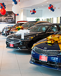Car Dealer Showroom with Decorative Gift Bows on the Hoods