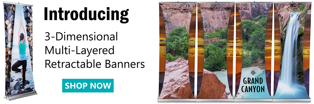 Multi-layered banner stands with 3D effect