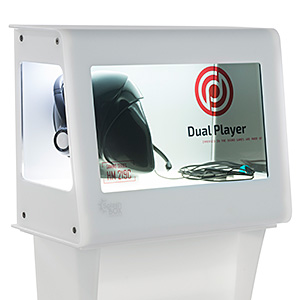 Marketing display case with clear LCD screen