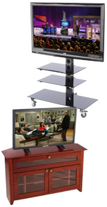 These LCD stands look great in a home, lobby, or waiting room.