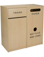 Food Court Trash Receptacles with Laminate Finish