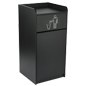 Floor Standing Wooden Trash Receptacle with Hinged Door