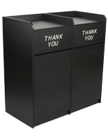 Particle board side by side restaurant waste receptacles