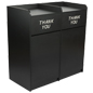 Side By Side Restaurant Waste Receptacles, 72 Gallon Combined Capacity