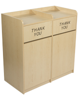 Particleboard maple wooden restaurant trash cans