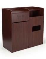 Food Court Trash Cans with Mahogany Finish