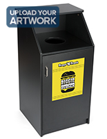 Trash can with custom printing offers full color graphics