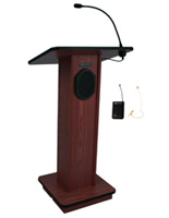 Wood Podium with Wireless PA, Floor Standing