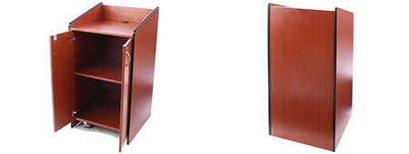 Cherry finish lectern with wheels and locking cabinet
