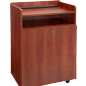 Cherry Mobile Presentation Stand with Locking Cabinet