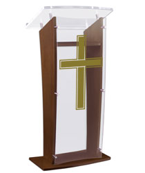 "Wood Pulpit with Traditional Cross Stands at a Height of 48.75"" Tall"