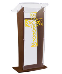 "Wood Pulpit with Celtic Cross Stands at a Height of 48.75"" Tall"