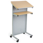 Silver Laptop Podium on Wheels