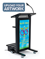 Mobile lectern with custom backlit graphic using UV digital printing