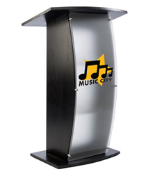 Frosted Plexi Podium with Custom Graphic, Wood Veneer Finish