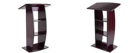 Manhogany podium with curved design and cloor levelers