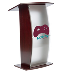 Clear Acrylic Lecture Stand with 2-Color Imprint with 2 Accessory Shelves